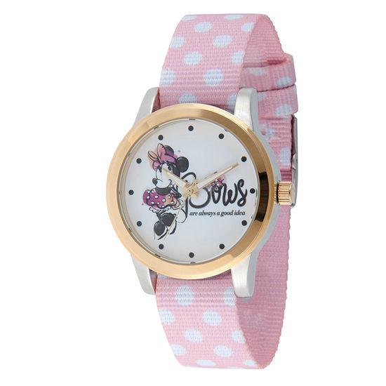 Disney Minnie Mouse Womens Pink Strap Watch-Wds000259