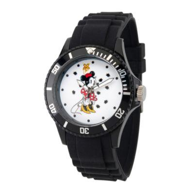 Disney Minnie Mouse Womens Black Strap Watch-Wds000260