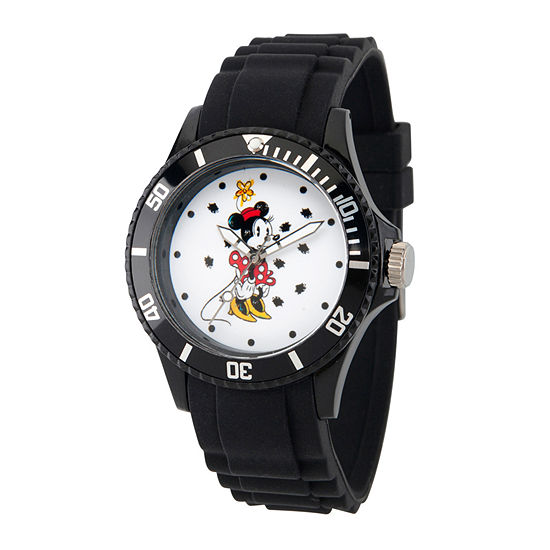 Disney Minnie Mouse Womens Black Strap Watch Wds000260