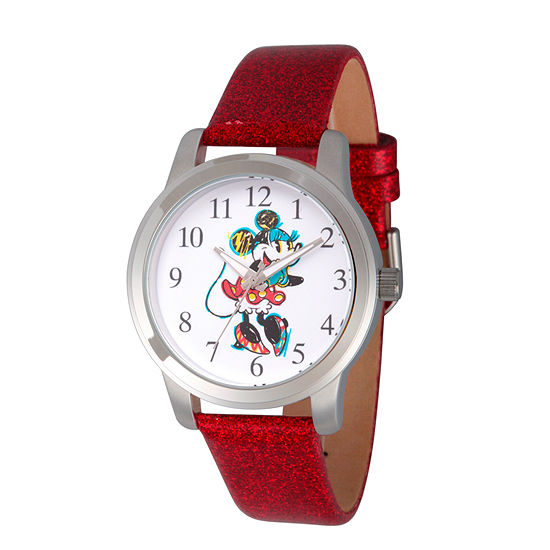 Disney Collection Minnie Mouse Womens Red Leather Strap Watch-Wds000263