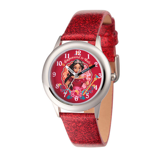Disney Elena of Avalor Girls Red Leather Strap Watch-Wds000282
