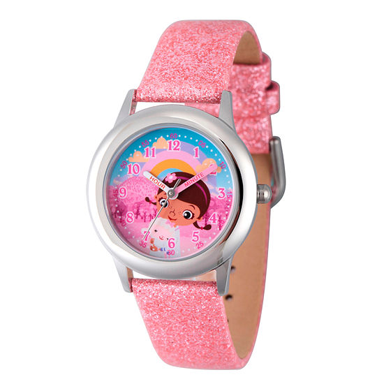 Disney Doc McStuffins Girls Pink Leather Strap Watch-Wds000285