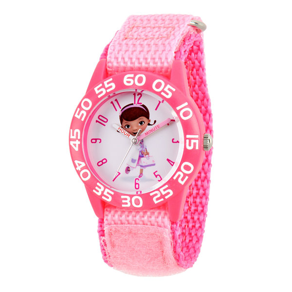 Disney Doc McStuffins Girls Pink Strap Watch-Wds000286