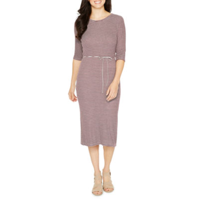 Emma And Michele 3/4 Sleeve Stripe Fit & Flare Dress