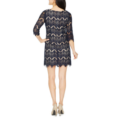 Ronni Nicole 3/4 Sleeve Lace Waves Shift Dress