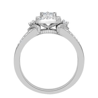 Womens 1/2 CT. T.W. Genuine Baguette White Diamond 10K Gold Engagement Ring