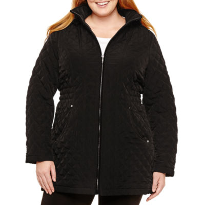 St. John's Bay Hooded Quilted Jacket-Plus