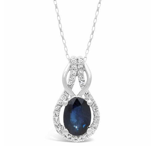 Womens 1/6 CT. T.W. Blue Sapphire 10K Gold Pendant Necklace