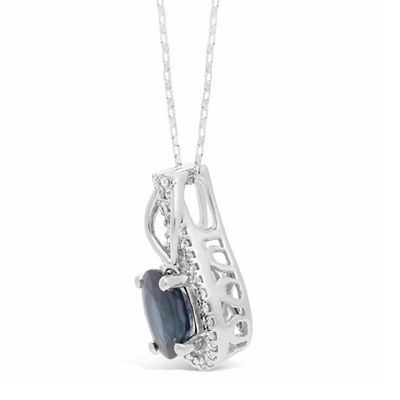 Womens 1/6 CT. T.W. Genuine Blue Sapphire 10K Gold Oval Pendant Necklace