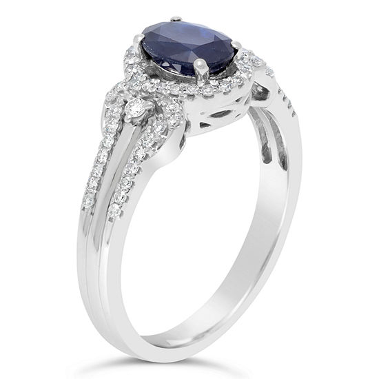 Womens 1/4 CT. T.W. Genuine Blue Sapphire 10K Gold Oval Cocktail Ring
