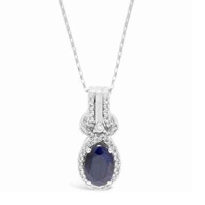 Womens 1/7 CT. T.W. Genuine Blue Sapphire 10K Gold Oval Pendant Necklace