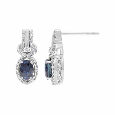 1/4 CT. T.W. Genuine Blue Sapphire 10K Gold 16mm Oval Stud Earrings