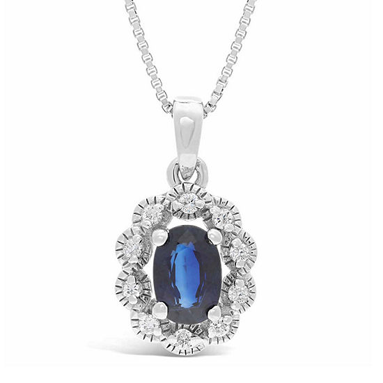 Womens Diamond Accent Genuine Blue Sapphire Sterling Silver Oval Pendant Necklace