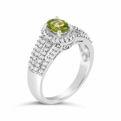 Womens Genuine Green Peridot Sterling Silver Oval Cocktail Ring