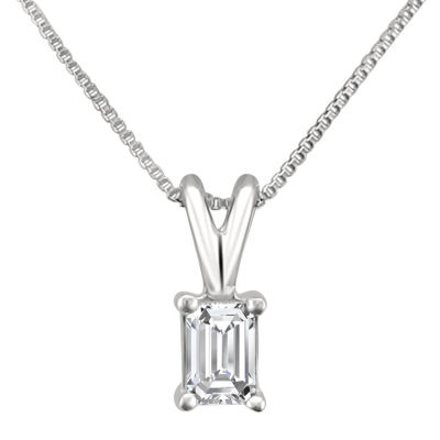 Womens 1/4 CT. T.W. Genuine White Diamond 14K Gold Pendant Necklace