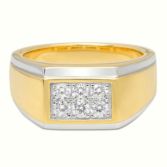 Mens Sterling Silver & 14K Gold Over Silver Cubic Zirconia Ring