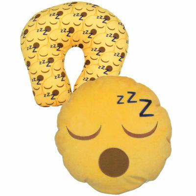Kids Preferred Emoji Sleepy Face Reversible Neck Pillow Plush Doll