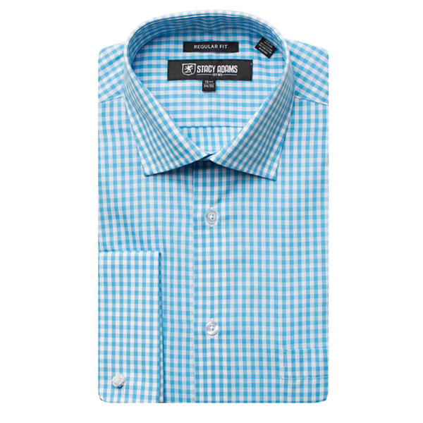 Stacy Adams Long Sleeve Woven Gingham Dress Shirt