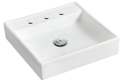 American Imaginations Wall Mount Ceramic Square Vessel Sink