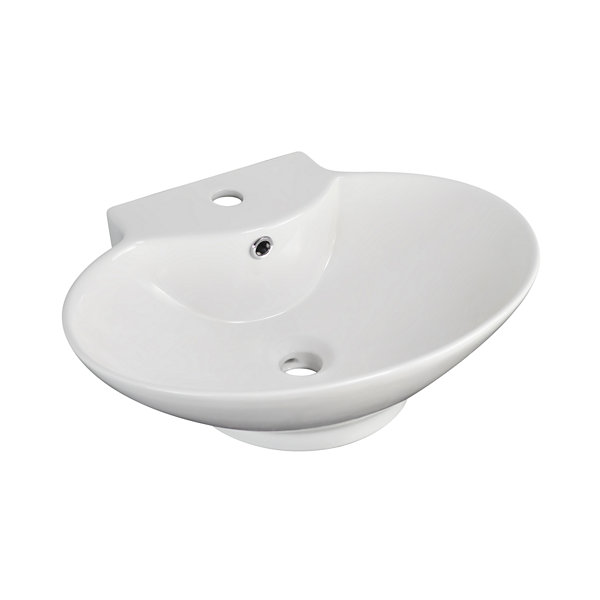 American Imaginations Above Counter Ceramic Oval Vessel Sink