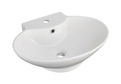 American Imaginations Wall Mount Ceramic Oval Vessel Sink