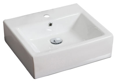 American Imaginations Above Counter Ceramic Rectangular Vessel Sink