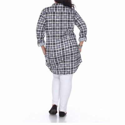 White Mark Piper Plaid Tunic Top-Plus