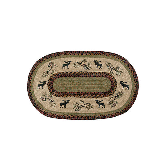 Better Trends Whimsical Moose Print Braided Oval Indoor Rugs