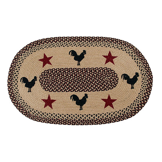 Better Trends Whimsical Rooster Print Braided Oval Indoor Rugs