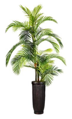 "Laura Ashley 105"" Tall Palm Tree In Fiberstone Planter"