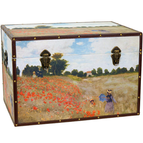 Oriental Furniture Monet's Poppies Storage Trunk