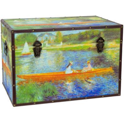 Oriental Furniture Faux Leather Renoir The Seine Storage Trunk