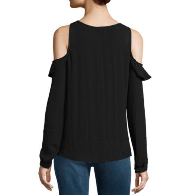 a.n.a Cold Shoulder Ruffle Front Blouse