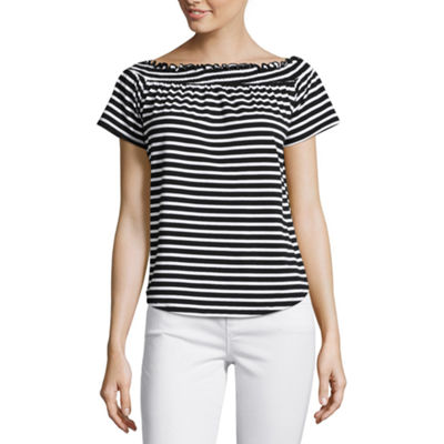 Liz Claiborne-Womens Short Sleeve T-Shirt