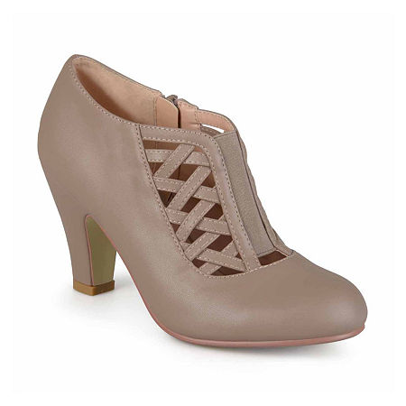 1940s Style Shoes, 40s Shoes Journee Collection Womens Reita Pumps Zip Round Toe Size 6 Medium Beige $65.00 AT vintagedancer.com
