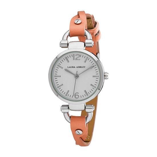 Laura Ashley Womens Orange Strap Watch La31042or