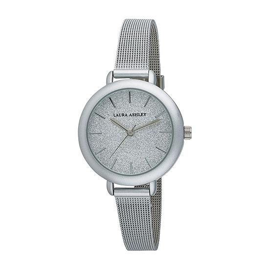 Laura Ashley Womens Silver Tone Stainless Steel Strap Watch-La31069ss