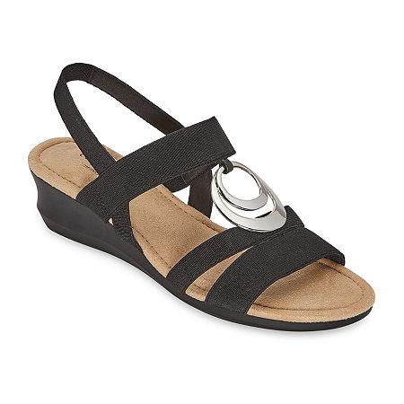 east 5th Womens Gear Wedge Sandals, 7 Medium, Black