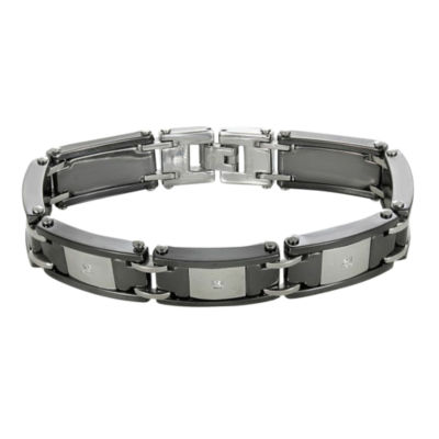 Mens Stainless Steel & Ceramic Cubic Zirconia Bracelet