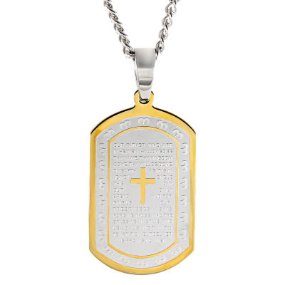Mens Lord's Prayer Dog Tag Stainless Steel