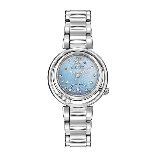 Citizen® Eco-Drive® Sunrise Womens Silver-Tone Diamond-Accent Bracelet Watch