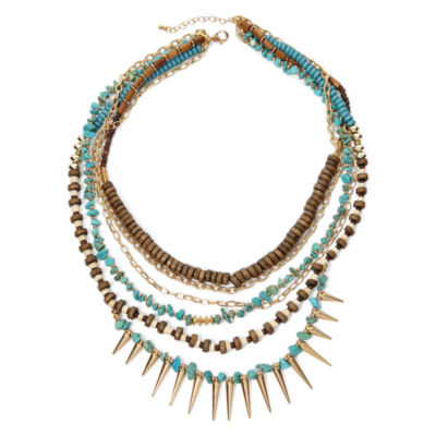 Decree® Multi-Row Wood Spike Necklace