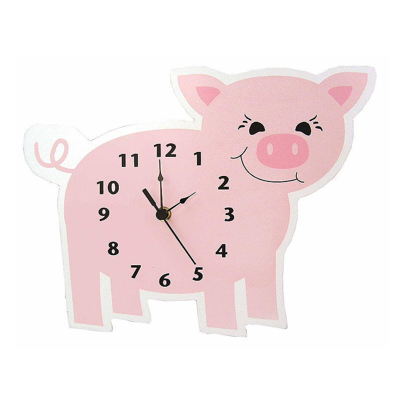 Trend Lab Baby Barnyard Piglet Wall Clock, Unisex, Pink, One Size