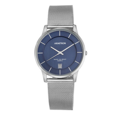 Armitron® Mens Navy and Silver-Tone Mesh Bracelet Watch