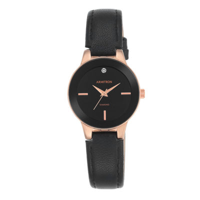 Armitron® Womens Black and Rose Gold-Tone Bracelet Watch