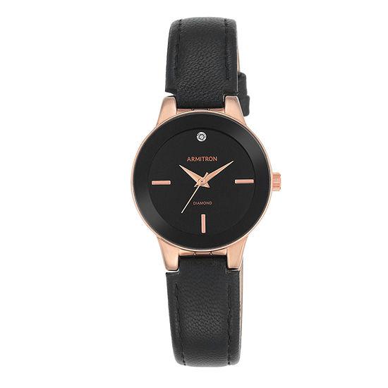 Armitron® Womens Black and Rose Gold-Tone Bracelet Watch
