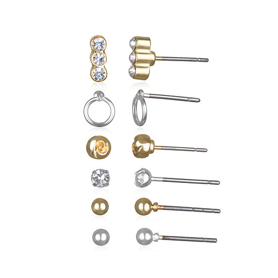 Mixit 6 Pr Two Tone Basic Earring Set