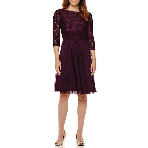 La Nouvelle Renaissance 3/4-Sleeve Lace-Bodice Fit-and-Flare Dress