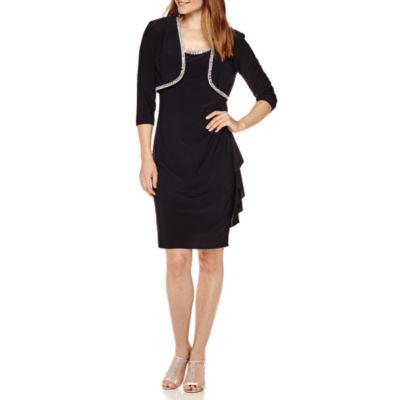R&M Richards Long-Sleeve Rhinestone Formal Bolero Jacket Dress