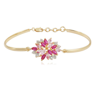 14K Gold over Silver Lab-Created Ruby and Pink & White Lab-Created Sapphire Flower Bangle Bracelet